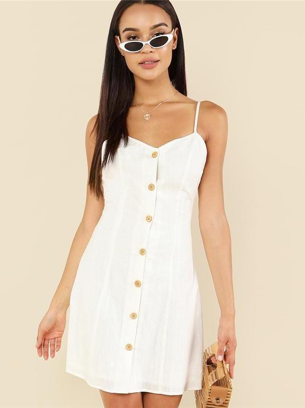 c2103d060353 Cotton Wood Button Simple White Dress #summer #ootd #streetfashion # summerdress #whitedress #comfydress #dresses