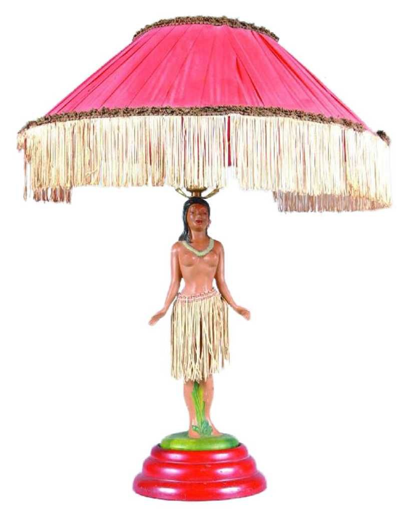 lamps floral vintage style girl with pin shade hula lamp red fringe