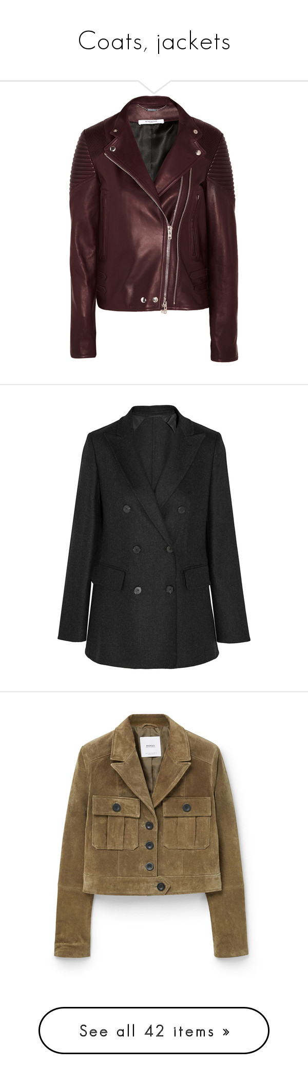 """""""Coats, jackets"""" by bliznec ❤ liked on Polyvore featuring outerwear, jackets, leather moto jacket, brown moto jacket, brown biker jacket, real leather jackets, leather rider jacket, blazers, dark gray and woven jacket"""