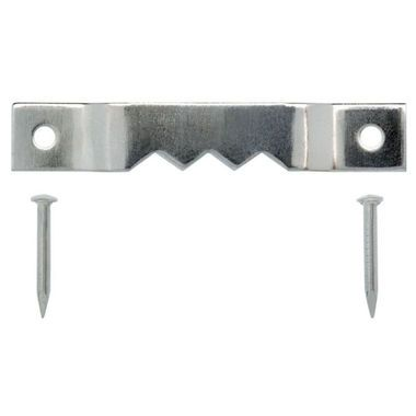 100 Pack Sawtooth Picture Frame Hanging Hangers Double Hole with Screws 1 1//2 Inch Silver