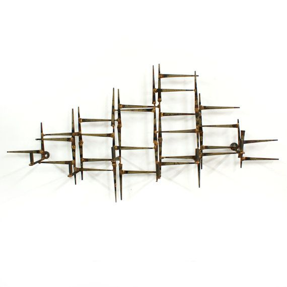 brutalist abstract metal wall sculpture mid by