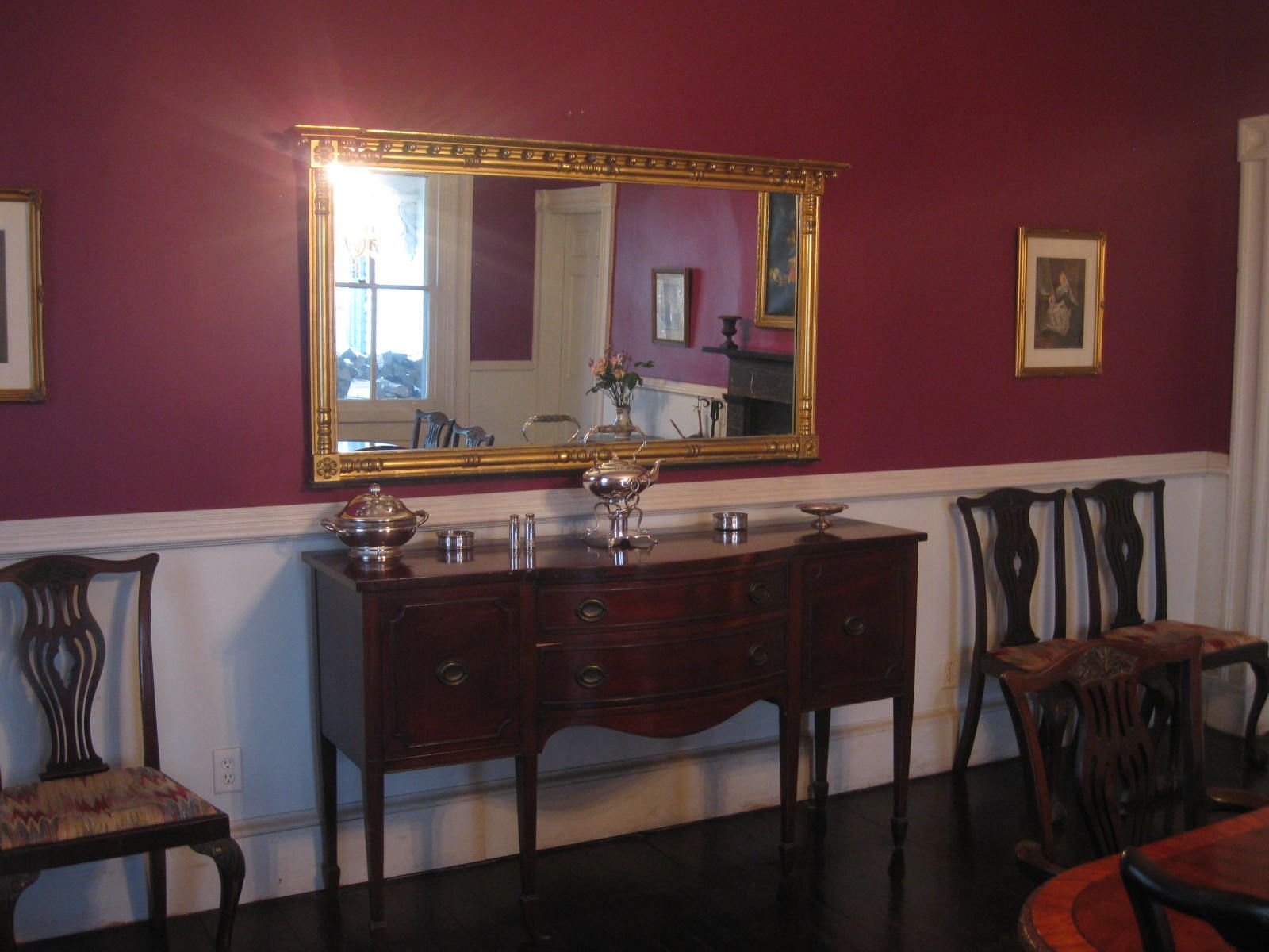 Dining Room Ideas Chair Rail painting+a+room+with+a+chair+rail | used a plum-colored paint for