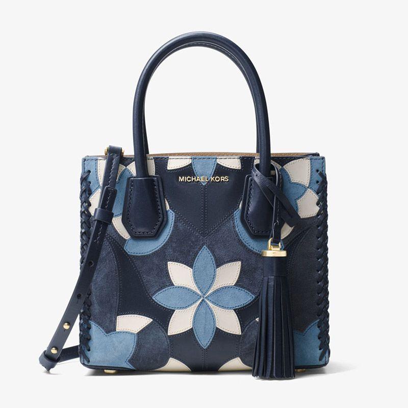 bb9ea429f412d MICHAEL Michael Kors Mercer Floral Patchwork Leather Tote Blue ...