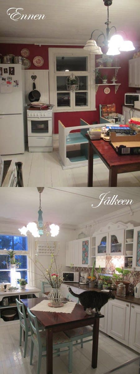 White country kitchen - before & after painting http://romppala.blogspot.fi