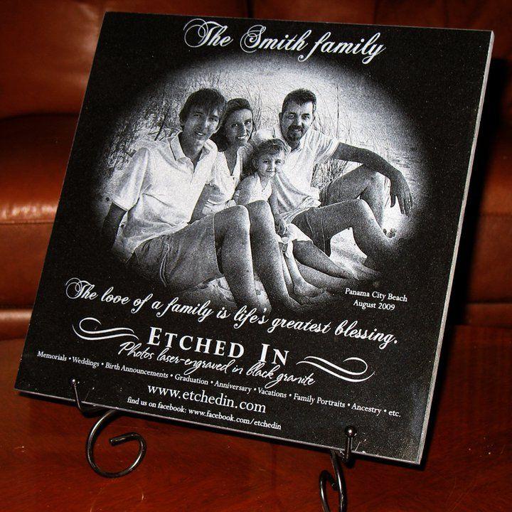 Photo Laser Engraved In Black Granite Laser Engraving Wedding Memorial Ancestry Photos