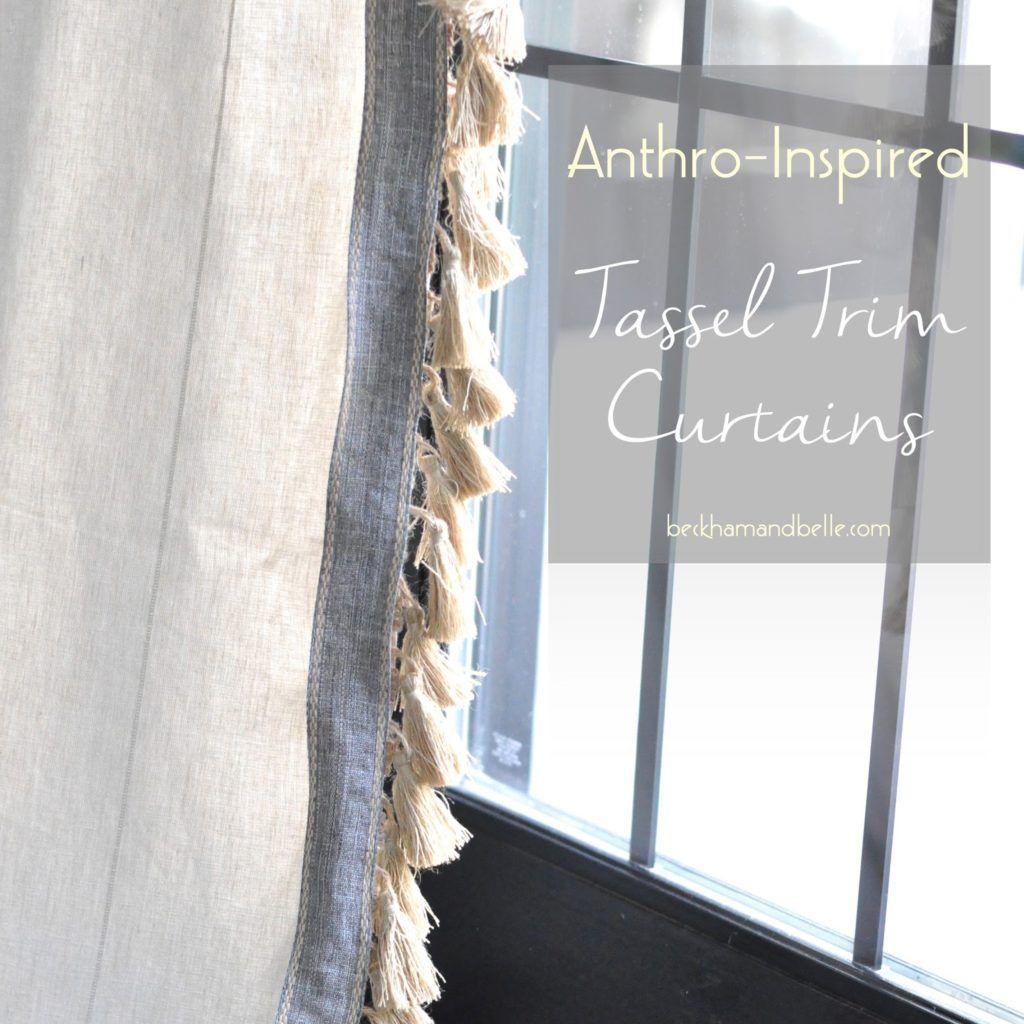 Anthro Inspired Jute Tassel Trim Curtains Farmhouse Window
