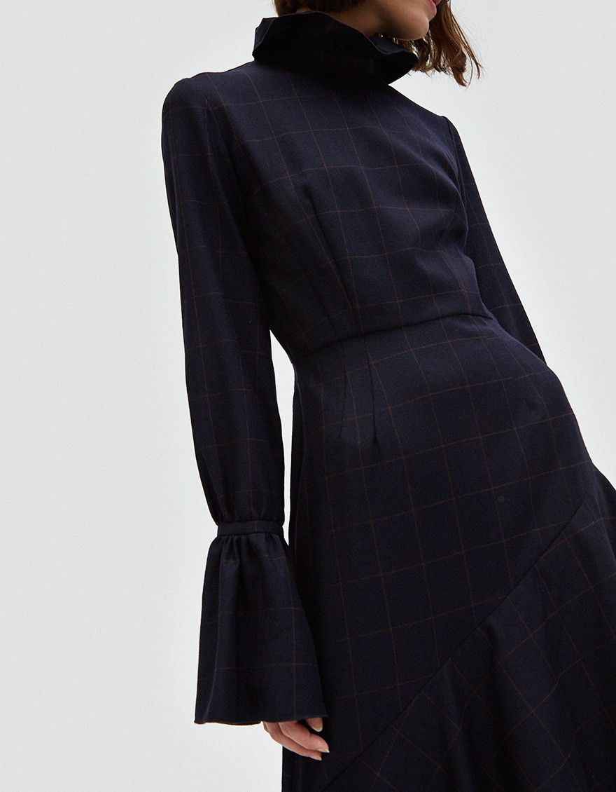 Long Dress From Kimhkim In Navy 100 Wool Dry Clean Made Korea