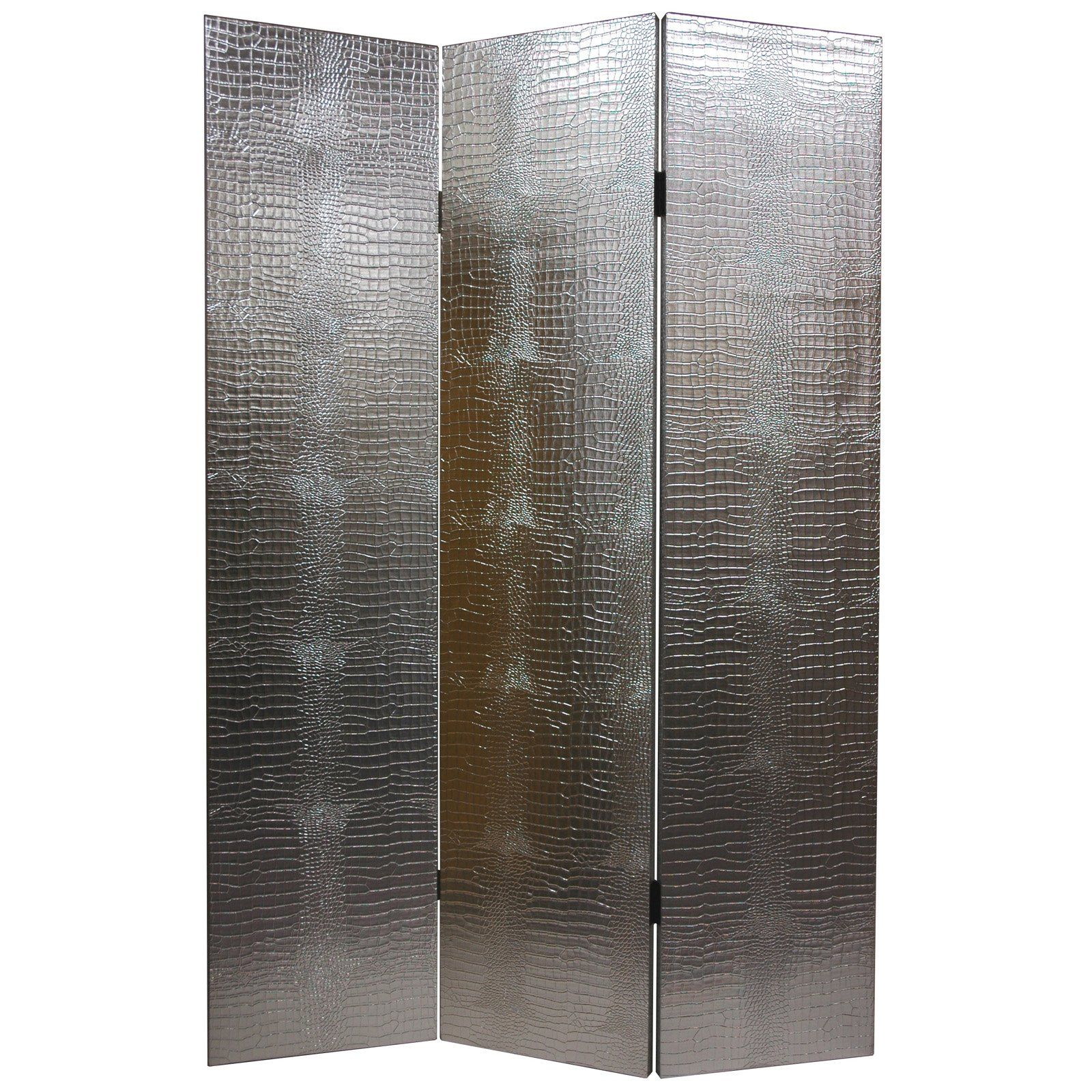 Have To Have It Faux Leather Silver Crocodile Room Divider