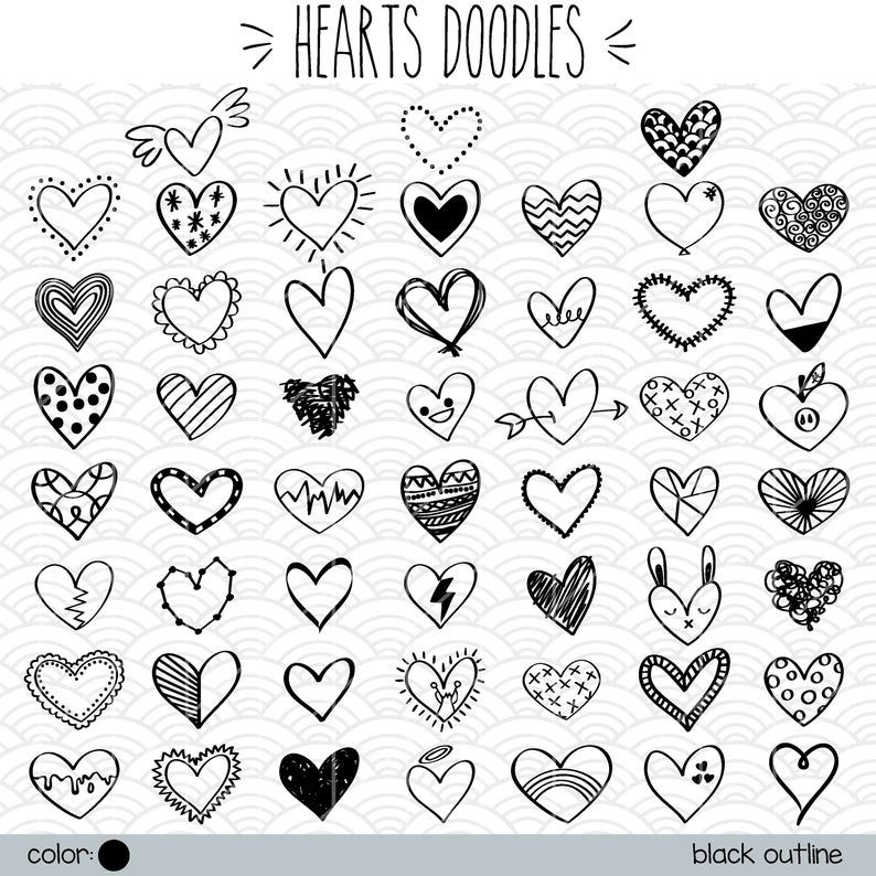 Hearts Outline Clip Art Hand Drawn Romance Vector Doodles Scribble Heart Illustration Bundle Png Eps Pdf Svg Dxf Heart Clip Art Heart Doodle How To Draw Hands