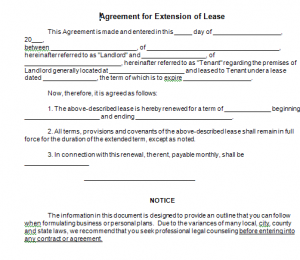 Agreement For Extension Of Lease  God    Template