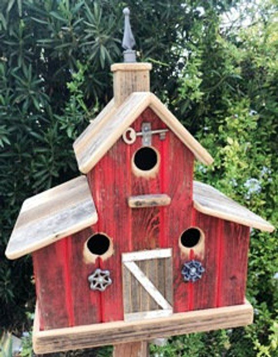 This Big Red Barn Birdhouse Will Attract You Feathered Friends To Nest In It It Has Three Nesting Boxes Decorative Bird Houses Barn Birdhouses Bird House Kits