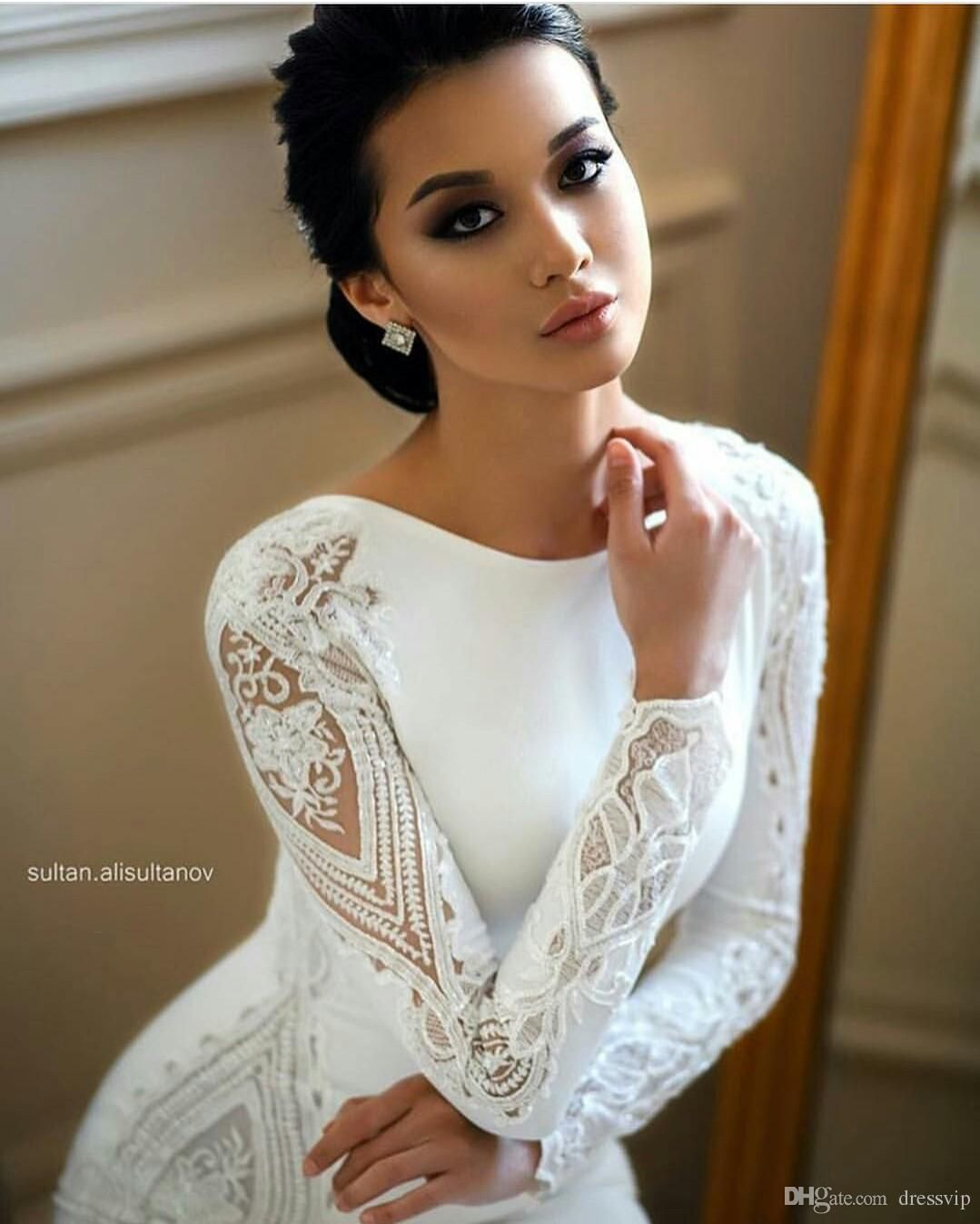 2019 Modest Mermaid Wedding Dresses Lace Appliqued Beaded Berta Sweep Train Boho Wedding Dress Bridal Gowns Plus Size Sleeves Abiti Da Sposa Elegant Wedding Dresses Inexpensive Wedding Dresses From Dressvip, $35.46| DHgate.Com #bertaweddingdress