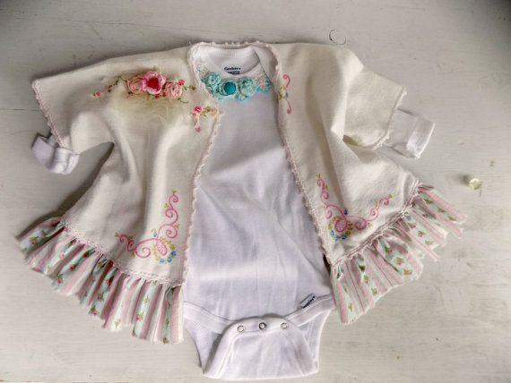 Boho Chic Lace Onesie Outfit. Shabby Chic Baby by ProvencalMarket