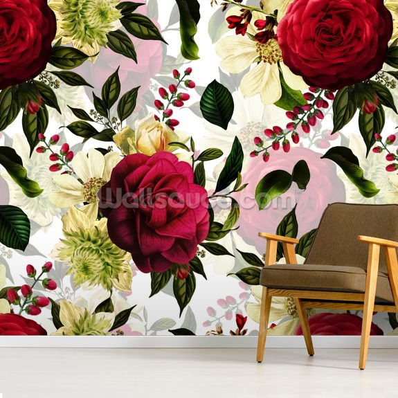 Ruby Red Roses Wallpaper Wallsauce Uk Red Roses Wallpaper Pink Floral Wallpaper Rose Wallpaper