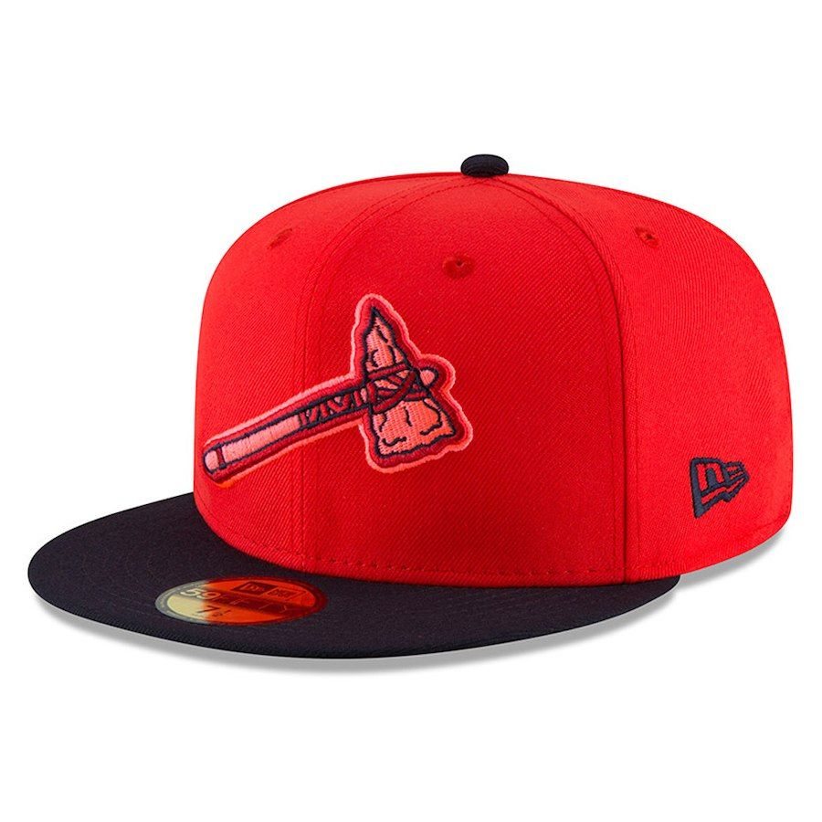 Men S Atlanta Braves New Era Red Navy 2018 Players Weekend On Field 59fifty Fitted Hat Atlanta Braves Hat Atlanta Braves Fitted Hats