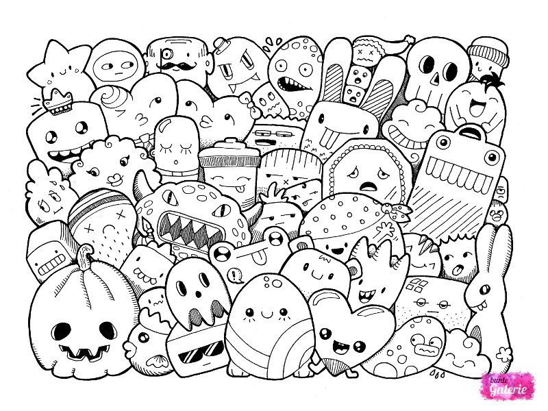 3 Doodle Monster Coloring Pages Coloriage Kawaii Dessins Detailles