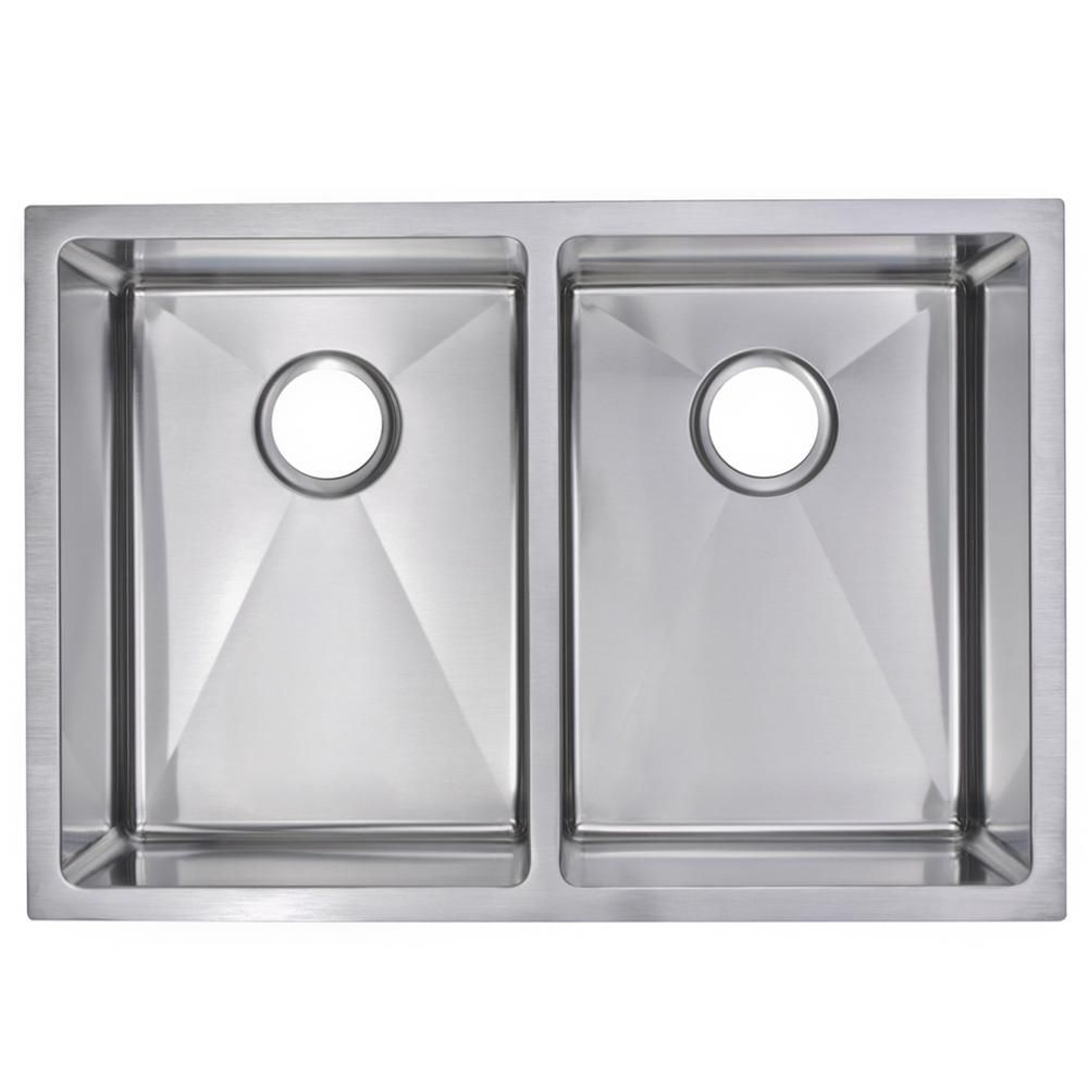 Water Creation Undermount Stainless Steel 29 In Double Bowl Kitchen Sink With Strainer And Grid In Satin Double Bowl Kitchen Sink Sink