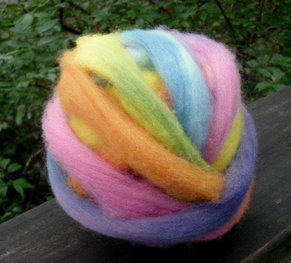 Thin Rainbow Roving--Wool Split Roving Ball--1 Ounces--Plant