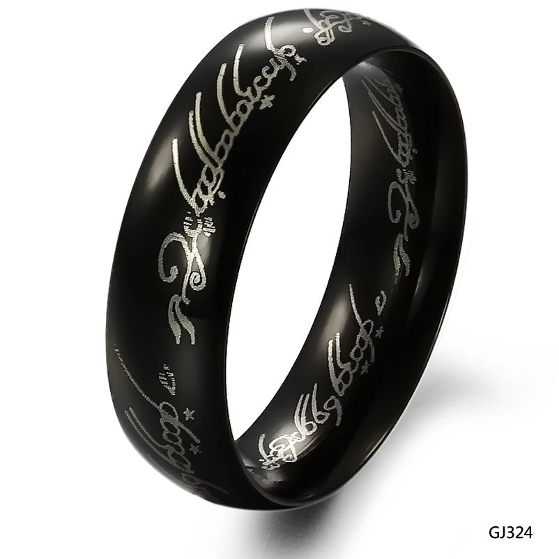 Lovejewelry Fashion Lord Of The Rings Style Black Plated Stainless Steel Las Wedding Band Promise Ring