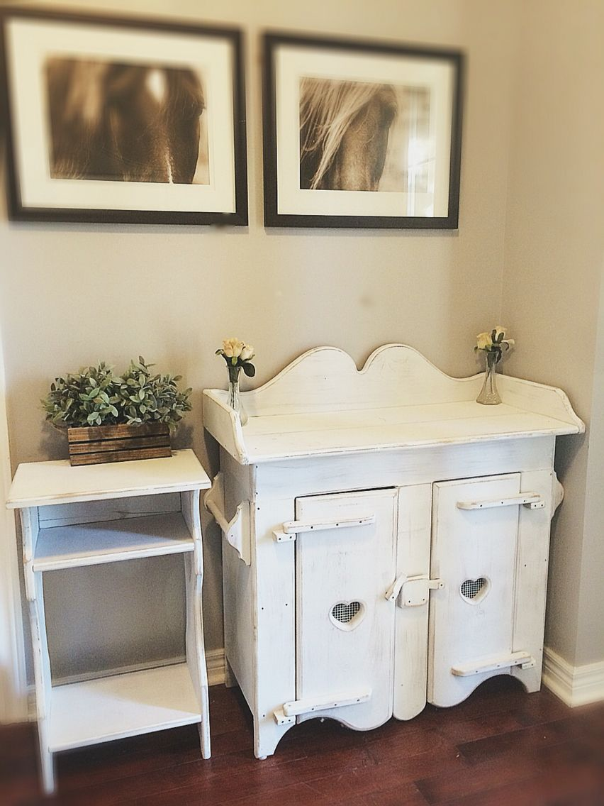 Rustic /Vintage/ White Babyroom Furniture/Baby Changing Table/Rustic Wood  Cabinet/ Nightstand Set / Farmhouse /Shabby Chic /French Cottage