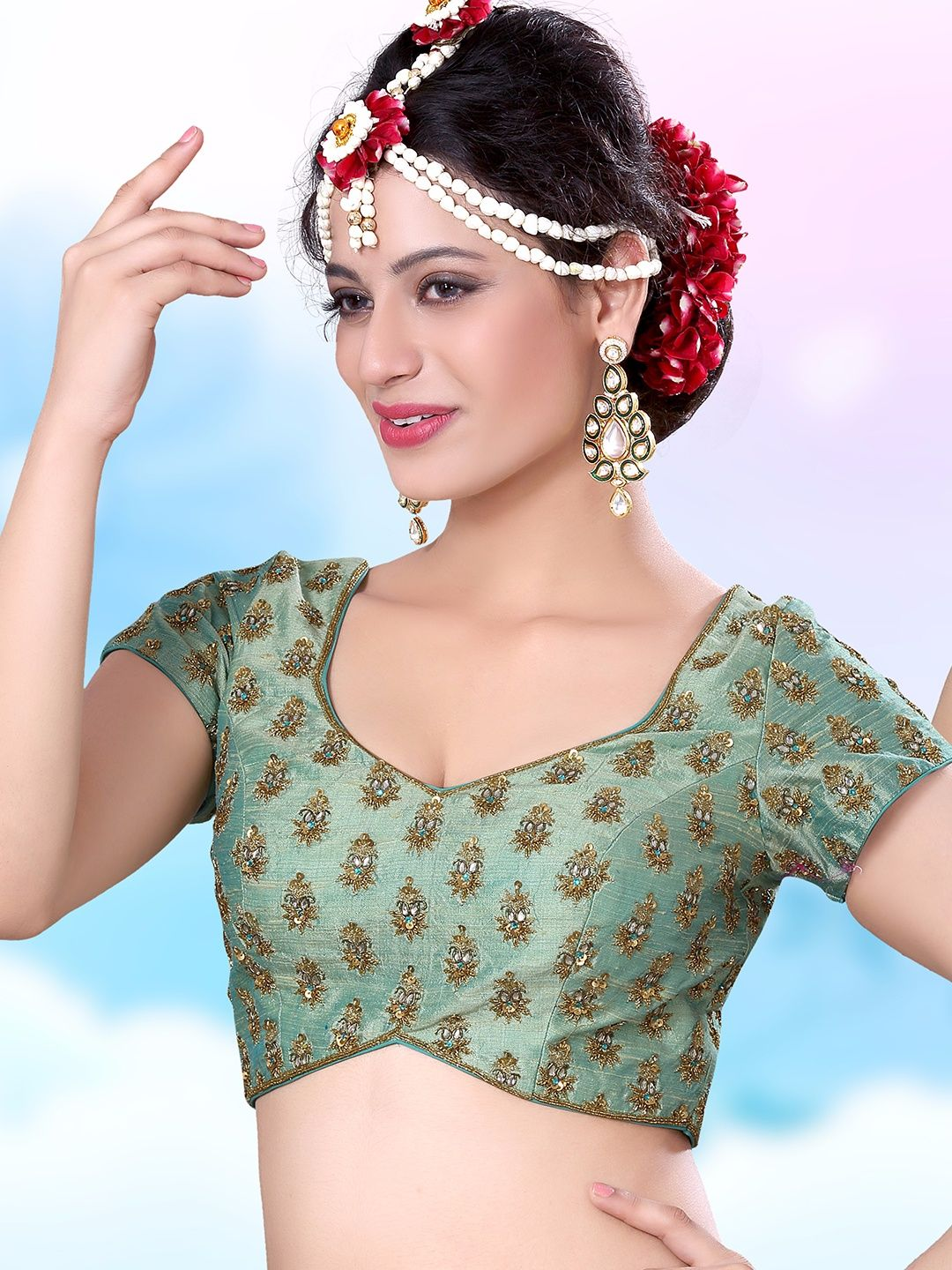 9d017035621c06 See Green Designer Ready Made Blouse | Saree blouse patterns ...