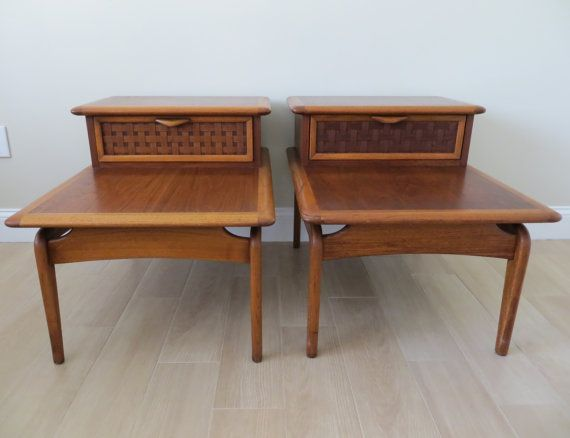Mid Century Modern Lane Perception End Side Tables   Pair   Two Tier   Basket  Weave This Gorgeous Pair Of Mid Century Modern Two Tiered