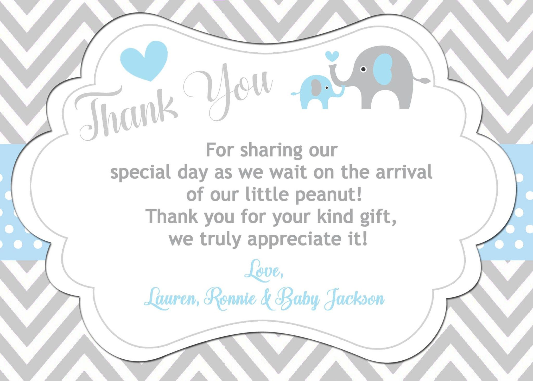 Elephant thank you card baby shower thank you cards