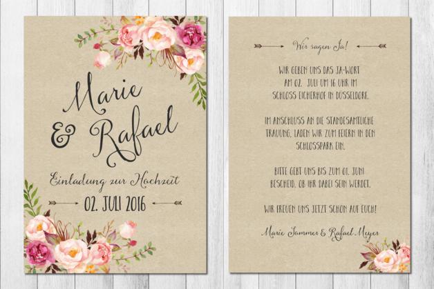 Romantische Einladungskarten Für Die Hochzeit, Vintage Rosen / Vintage  Wedding Invitations, Floral With Handlettering