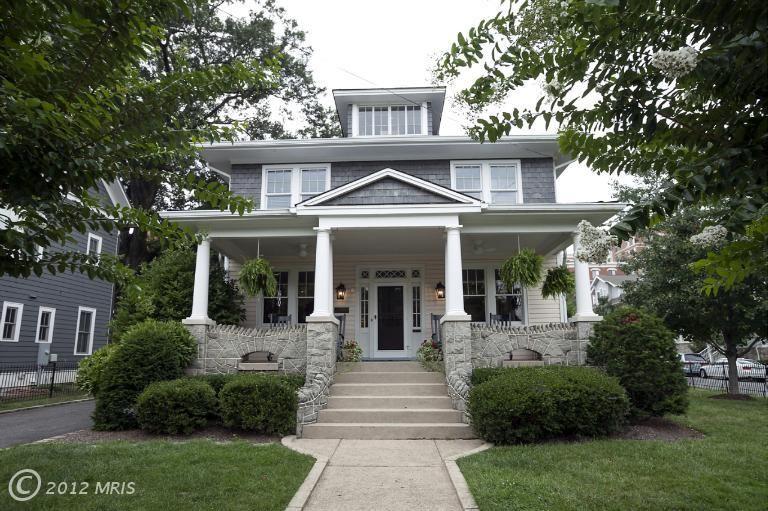 Arlington dream house. Love the stone porch railings with the cutouts.