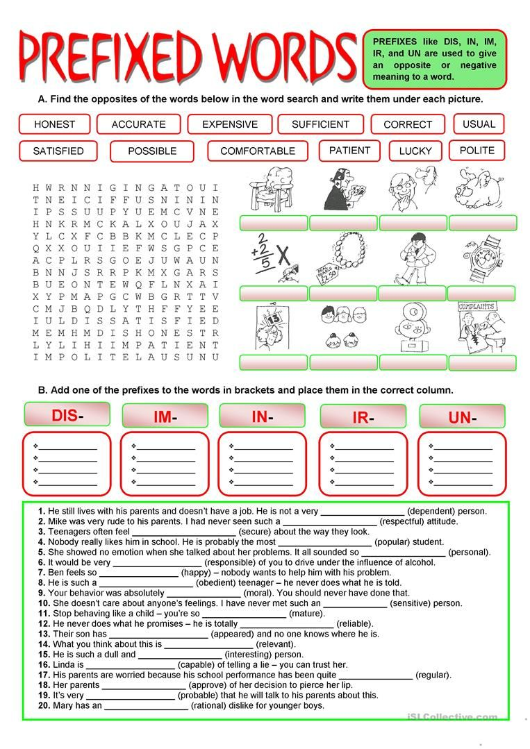 Prefixes Negative Meaning Worksheet Free Esl Printable Worksheets Made By Teachers Prefixes Word Formation Prefixes And Suffixes [ 1079 x 763 Pixel ]
