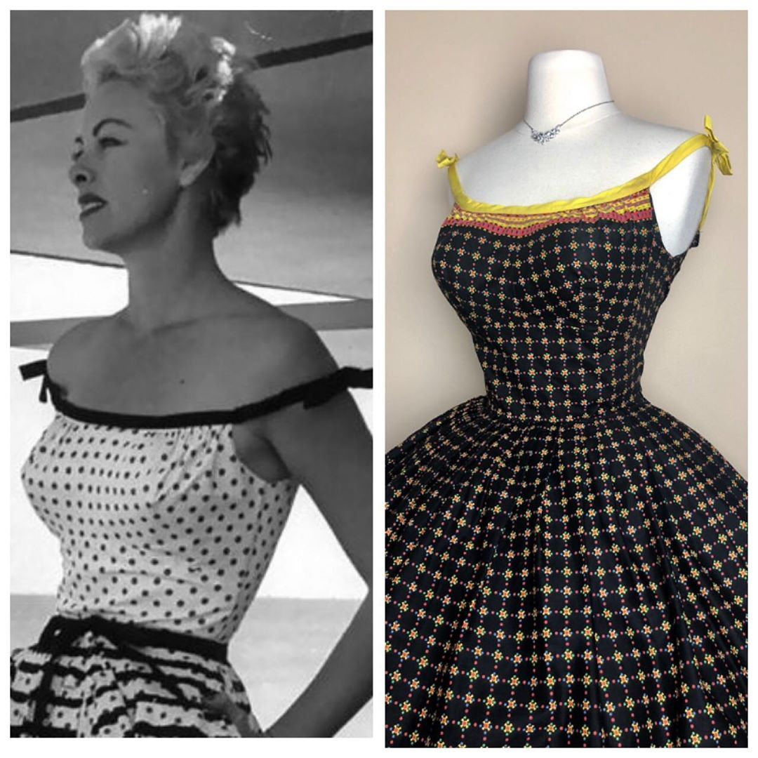 Miss V On Instagram Preview Novelty Vintage 1950 S Polka Dots Hearts Cotton Dress Off Shoulders 50s 1950s 50sdress 195 Cotton Dresses Dresses 50s Dresses