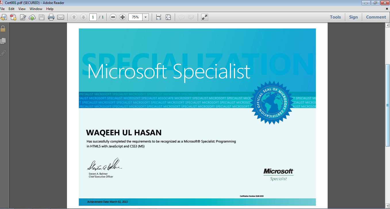Alhamdulillah Got A Certification Of Microsoft Specialist