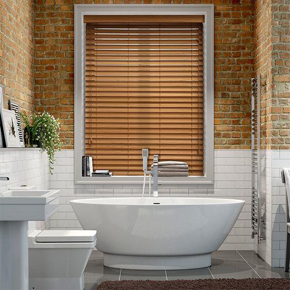 majestic wooden blinds for bathrooms. Warm Oak Faux Wood Blind  50mm Slat wood blinds Bathroom