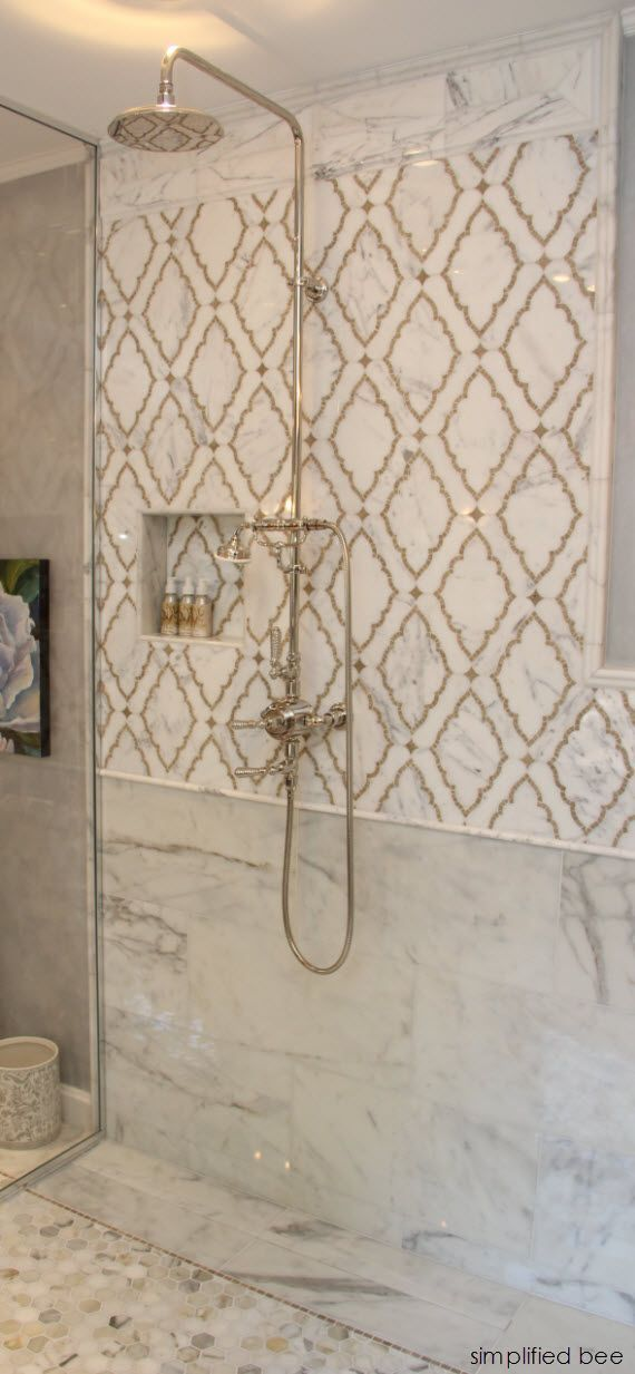 Photo of Marble bathroom tile in Marrakech style
