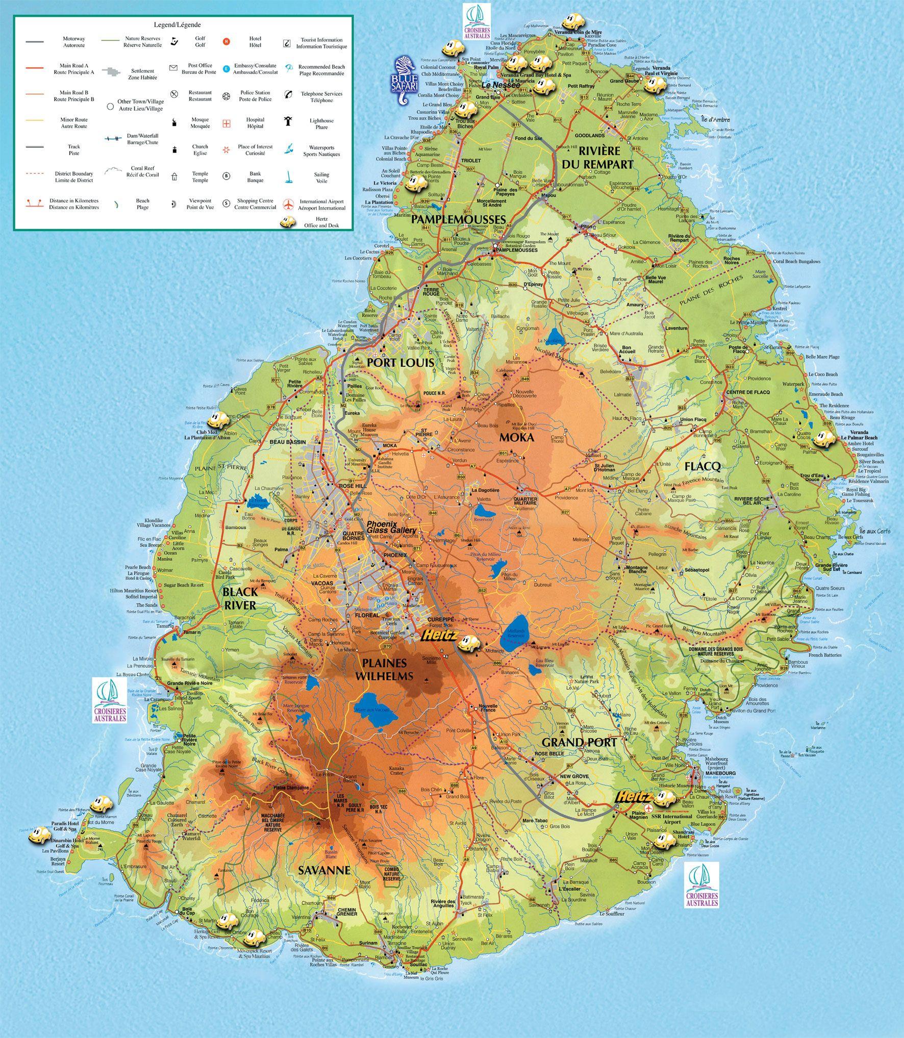 Carte ile maurice le maurice et de la reunion - Where is port louis mauritius located ...