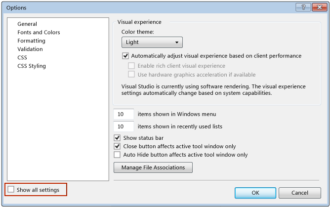 Options Dialog Box Wirh Show All Settings Option  Teknologi