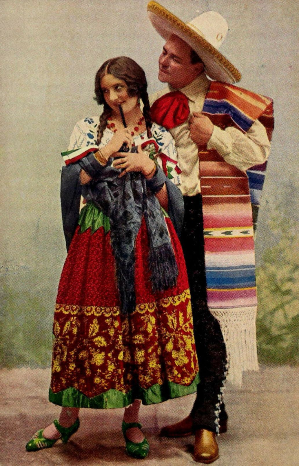 Beautiful vintage Mexican picture Mexican costume