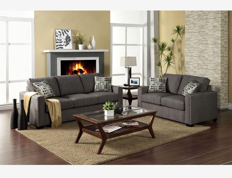 Modern Charcoal Fabric Sofa Couch Loveseat Nailhead Trim Living Room Tan Walls Living Room Living Room Furniture Nailhead Trim Sofa