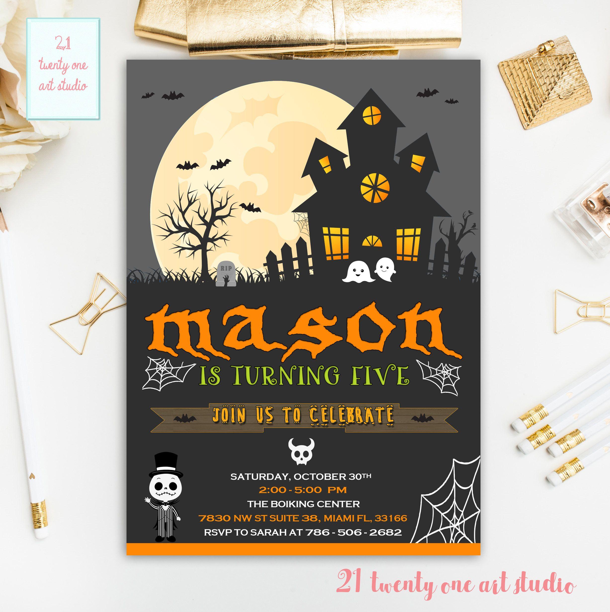 Halloween Birthday Invitation, Halloween Invitation, Birthday ...