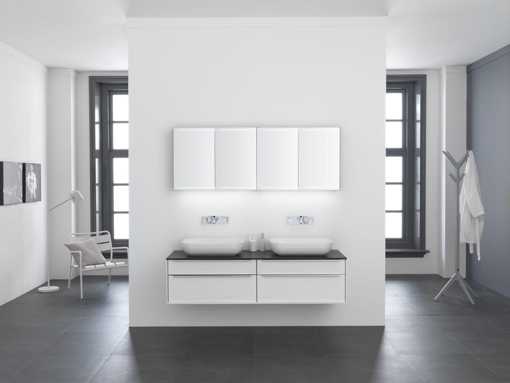 spiegelkast deluxe boven badmeubel met opzet kommen van keramiek