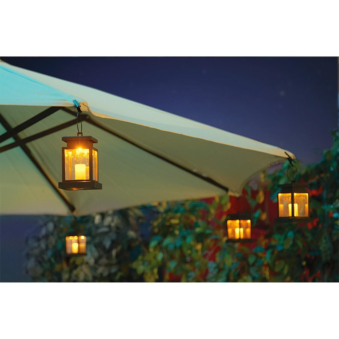 4 pk of solar patio umbrella clip lights patio garden solar patio umbrella clip lights 219378 solar outdoor lighting at sportsmans guide mozeypictures Gallery