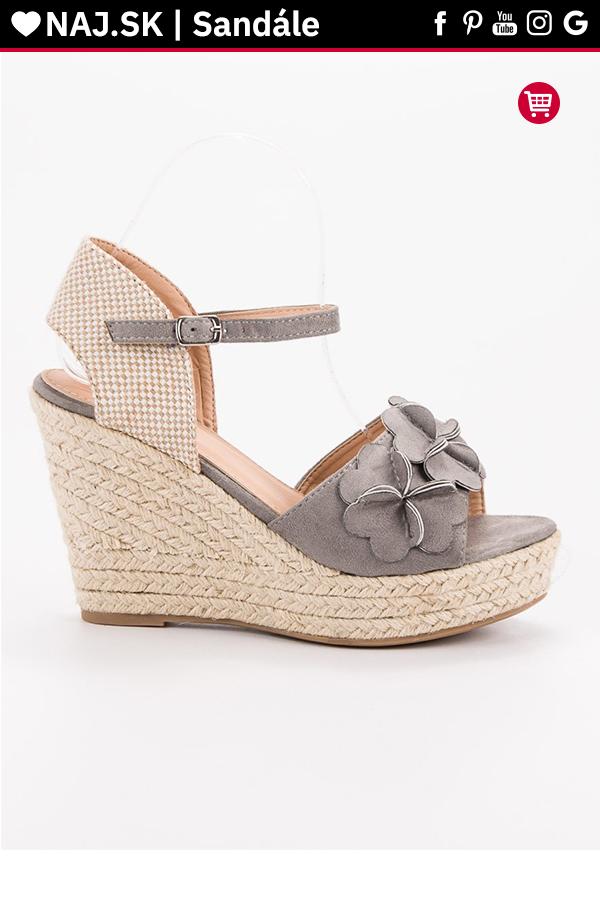 b0b8ae6a50 Sivé sandále s kvetmi Top Shoes Alpercatas