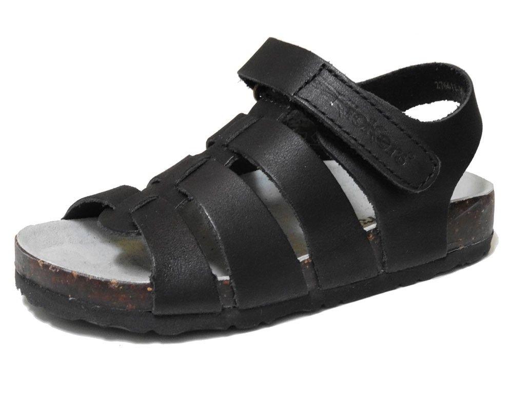 Kickers sandalia Magino negro en piel negro con suela bio ,1 velcro