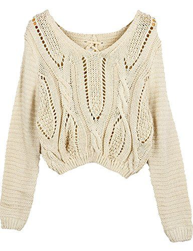 6716110d5e PrettyGuide Women Eyelet Cable Knit Lace Up Crop Long Sleeve Sweater Crop  Tops Beige