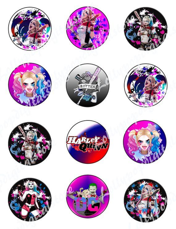81a5c10156e Harley Quinn Cup Cake Toppers. Harley Quinn party cupcakes Toppers. Harley  Quinn DC Super hero Girl