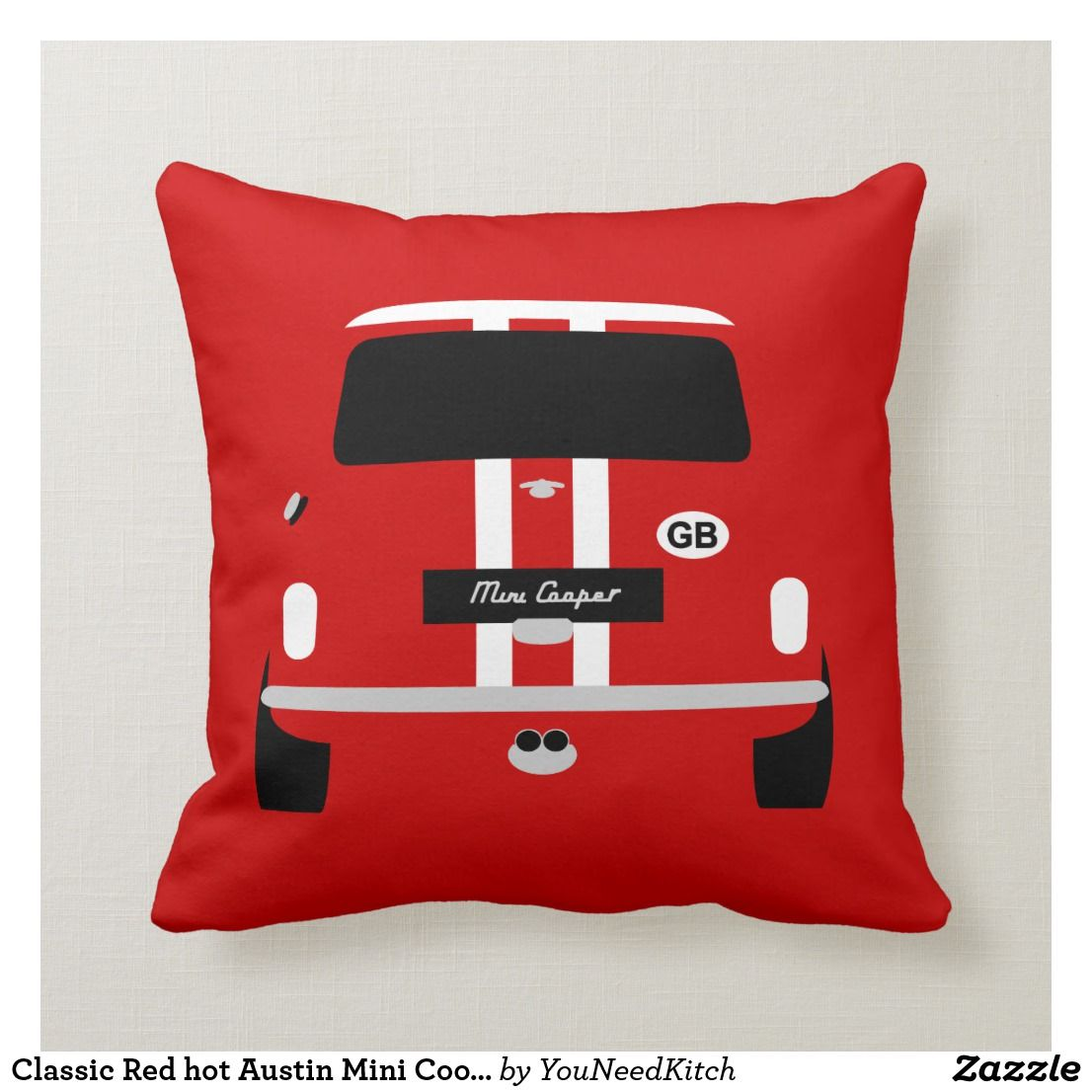 Classic Red hot Austin Mini Cooper car Cushion | Zazzle.com