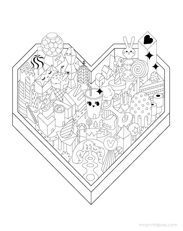 Giant Valentine S Day Coloring Page 12 Pages Free Printable