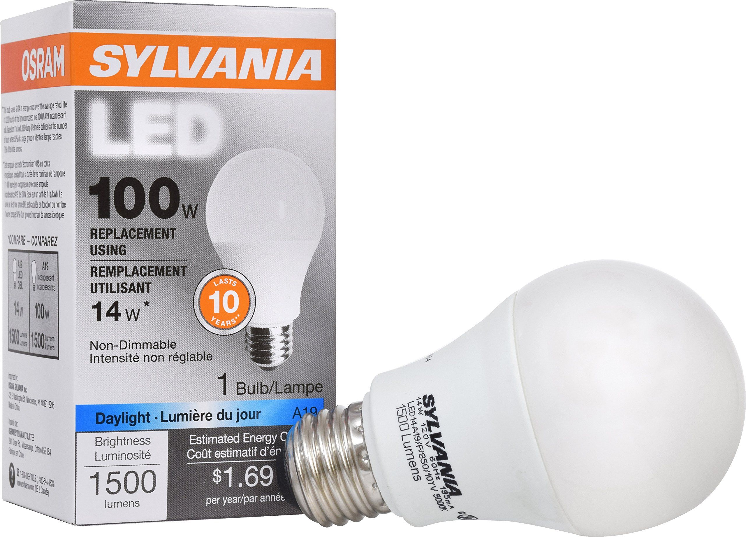 Sylvania 100w Equivalent Led Light Bulb A19 Lamp 1 Pack Daylight Energy Saving Ledlightsideas Dimmable Led Lights Sylvania Led Light Bulb
