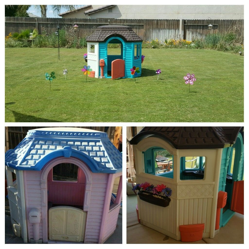 Little Tikes Victorian Cottage Repainted With Spray Paint Play Houses Diy Playhouse Plans