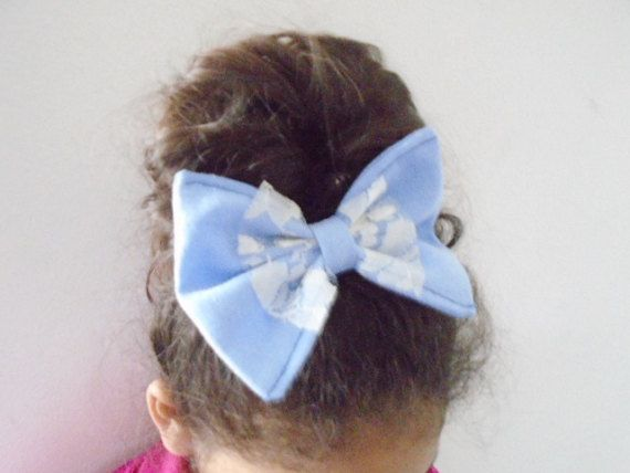 Denim hair bow french barrette Denim bow hair by OneOfferJewelry